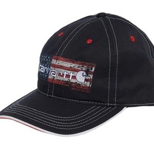 Carharrt Black Hat Distressed Flag Cap America NWT